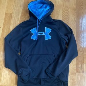 Mens Black & Blue Under Armour Hoodie Medium